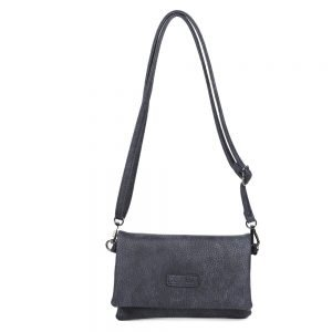 damen Clutch Tasche Emma, Leder Vegan, Crossbody Bag, Crossbody, Messenger Bag, Blau, B-Material