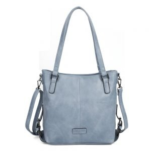 damen Schultertasche Amelie, Leder Vegan, Crossbody Bag, Crossbody, Messenger Bag, Hell Blau, SR-Material
