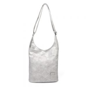 damen umhängetasche Emilia, Leder Vegan, Crossbody Bag, Crossbody, Messenger Bag, Silber, SR-Material