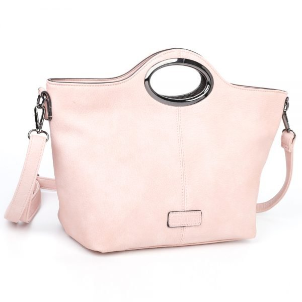 damen Henkeltasche Sophie, Leder Vegan, Crossbody Bag, Crossbody, Messenger Bag, Shopper Rose, Ansicht Schräg  B-Material