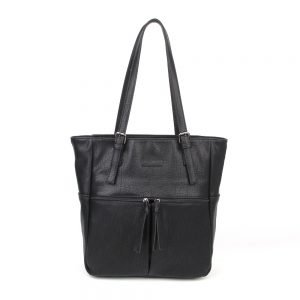 damen Shopper Tasche Emily, Leder Vegan, Crossbody Bag, Crossbody, Messenger Bag, Schwarz, H-Material