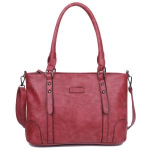 damen Shopper / Schultertasche Julia, Leder Vegan, Crossbody Bag, Crossbody, Rot, H-Material