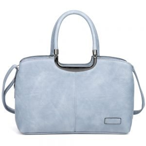 damen henkeltasche Johanna, Leder Vegan, Crossbody Bag, Crossbody, Messenger Bag, Hell Blau, SR-Material