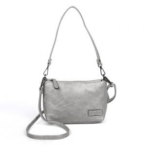 damen umhängetasche Paulina, Leder Vegan, Crossbody Bag, Crossbody, Messenger Bag, Silber, SR-Material