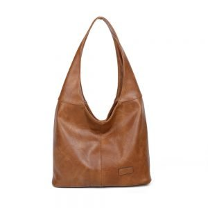 damen Schultertasche Sofia, Leder Vegan, Crossbody Bag, Crossbody, Messenger Bag, Braun, SR-Material