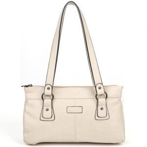 damen Schultertasche Lara, Leder Vegan, Crossbody Bag, Crossbody, Messenger Bag, Beige, BS-Material