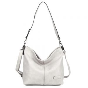 damen Shopper / Schultertasche Melina, Leder Vegan, Crossbody Bag, Crossbody, Grau, H-Material
